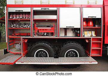 開いた, 大きい, 赤, 消防車, 装備された, ∥で∥, 火, 雄ん鶏, そして, ホース, ∥において∥, 日