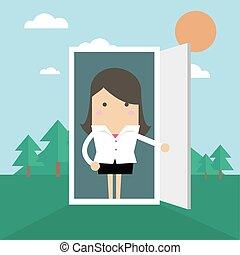 開いた, 女性実業家, nature., ドア, オフィス