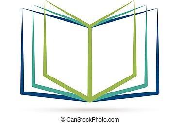 開いた, 定型, 本, ロゴ, 要素