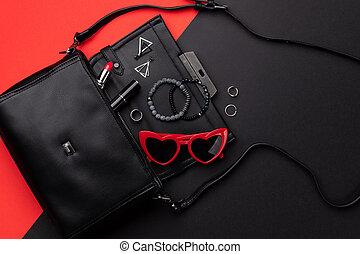 開いた, 平ら, 袋, 背景, 付属品, 光景, 上, 赤, ダブル, 黒, 位置