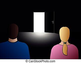 開いた, 恋人, ドア, 脱出