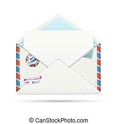開いた, 旧式, ペーパー, 封筒, エアメール