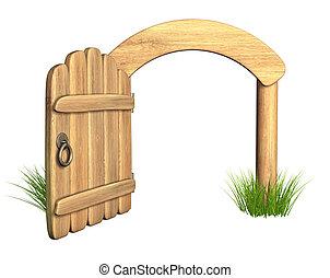 開いた, 木製の戸