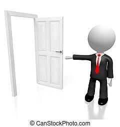 開いた, 概念, ドア, 3d