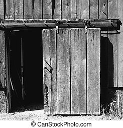 開いた, 滑っている, 納屋, ドア