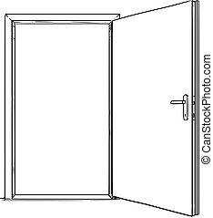 開いた, 現代, ドア, 漫画