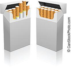 開いた, 現実的, タバコ, ベクトル, ブランク, template., パック
