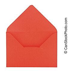 開いた, 白い封筒, 赤い背景