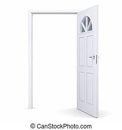 開いた, 白, ドア