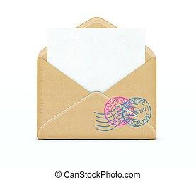 開いた, 白, ペーパー, 封筒