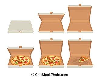 開いた, 網, に薄く切る, 閉じられた, メニュー, ピザ, box., icon., イラスト, logotype, 隔離された, ベクトル, そっくりそのまま, 平ら, ポスター, パンフレット, 白