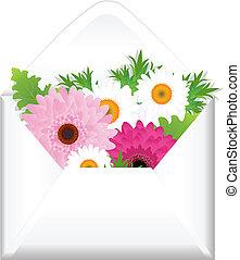 開いた, 花, 封筒