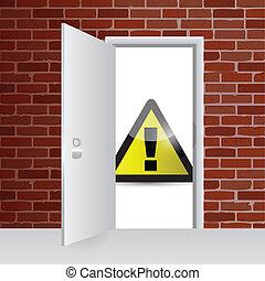 開いた, 警告, ドア, イラスト, 印