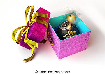 開いた, 贈り物の箱, ∥で∥, 爆弾, 中