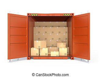 開いた, 赤, 貨物 容器, ∥で∥, 自動車