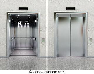 開いた, 閉じられた, エレベーター