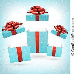 開いた, 青, 贈り物の箱, 上に, 青