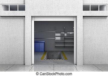 開いた, garage., イラスト, 3d