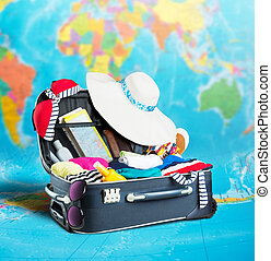 開いているスーツケース, フルである, の, 衣類