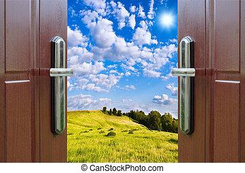 開いているドア, ∥で∥, a, 光景, の, 緑の採草地, 照らされた, によって, 明るい, 日光