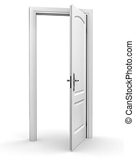 開いているドア, 上に, 白