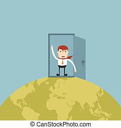開いているドア, 世界