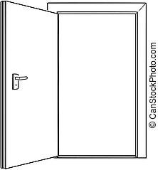 開いているドア, 図画, 勧誘, 漫画