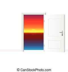 開いているドア, 日没, 海洋