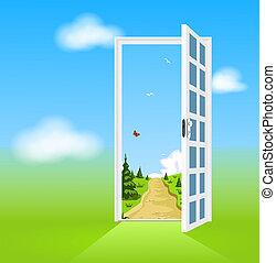 開いているドア, 自然