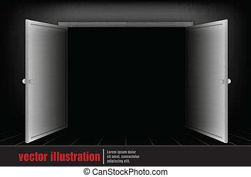 開いているドア, 部屋