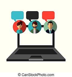 開いているラップトップ, 人々, スピーチ泡, コミュニケーション