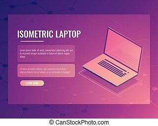 開いているラップトップ, 等大, ベクトル, 旗, の, コンピュータ, デジタルの技術, 抽象的, 背景, 3d