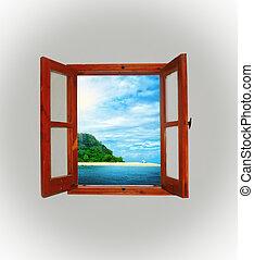 開いている窓, によって, 海の 眺め