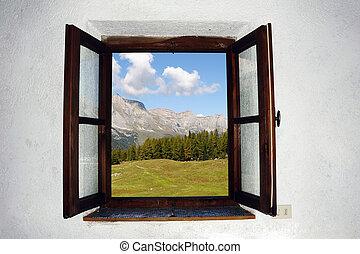 開いている窓