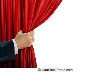 開始, 上に, 手, カーテン, 白い赤, ステージ