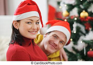 開支, 夫婦, 年輕, 一起, 時間, 聖誕節