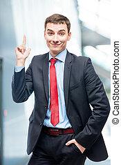 開発, よい, ビジネスオフィス, 非常に, 考え, 成功した, ビジネスマン, 肖像画, 新しい, idea!