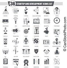 開発, クラシック, web., set., 始動, 灰色, 暗い, ベクトル, 黒, デザイン, アイコン