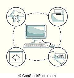 開発, シルエット, のまわり, ビジネス アイコン, 色, コンピュータ, 背景, 机, 影で覆うこと, 白, セクション