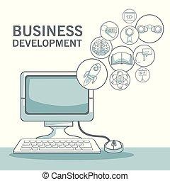 開発, シルエット, ビジネス アイコン, 色, コンピュータ, 背景, 机, 影で覆うこと, 白, セクション, 浮く