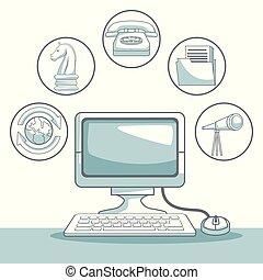 開発, シルエット, ビジネス アイコン, 色, コンピュータ, 背景, 机, 影で覆うこと, 白, セクション