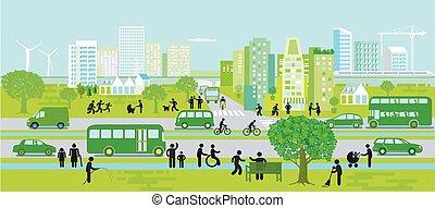 開発, シルエット, 都市, 支持できる