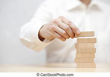 開発, ビジネス, 積み重ね, concept., 手, 木製である, blocks., 人