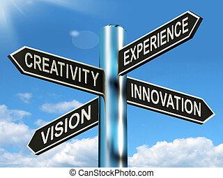 開発, ビジネス, 道標, 創造性, 経験, 意味, 革新, ビジョン