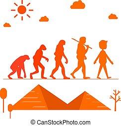 開発, ピラミッド, シルエット, evolution., イラスト, ベクトル, 成長, 人間, 進歩