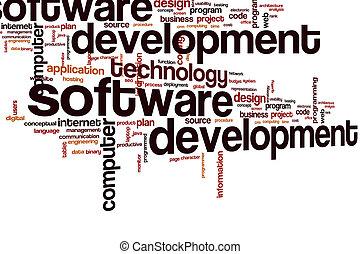 開発, 単語, 雲, ソフトウェア