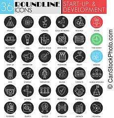 開発, 始動, set., 現代, web., 円, 白, ベクトル, 黒, デザイン, 線, スタートアップ, アイコン