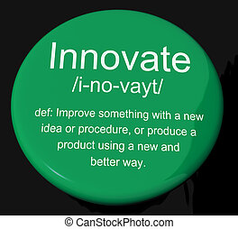 開発, 定義, 工夫, ボタン, 革新しなさい, 創造的, ショー