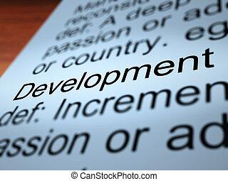 開発, 定義, 提示, クローズアップ, 改善