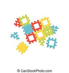 開発, 平ら, 教育 おもちゃ, 中心, カラフルである, ポスター, プラスチック, ベクトル, 広告, constructor., 子供, kids.